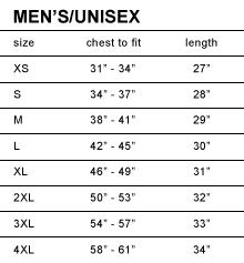Unisex Tee Size Chart